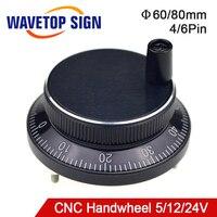 Diâmetro eletrônico da roda de mão do cnc. 60 5 80mm Pulso 100 Tensão V 12V 24V Pinos 4 ou 6