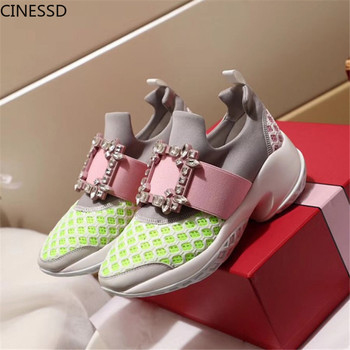 Crystal Buckle Sneakers Summer Breathable Mesh Platform Shoes Woman Slip On Casual Shoe Trainers Creeper Sneakers Tenis Feminino