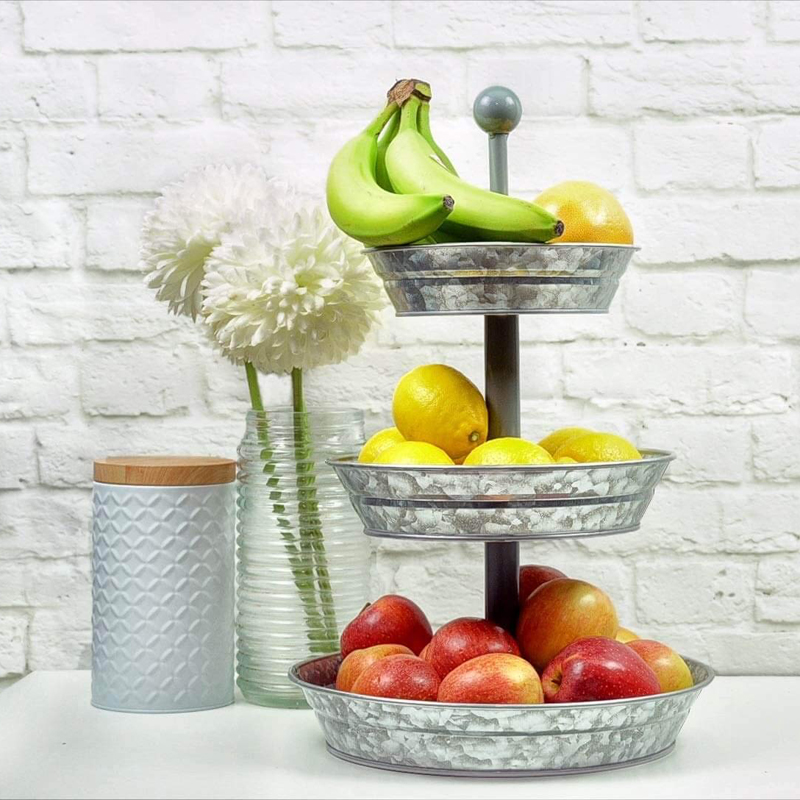 3 Tier Serving Tray - Galvanized, Rustic Metal Stand. Dessert, Cupcake, Fruit & Party Three Tiered Platter. Country Farmhouse