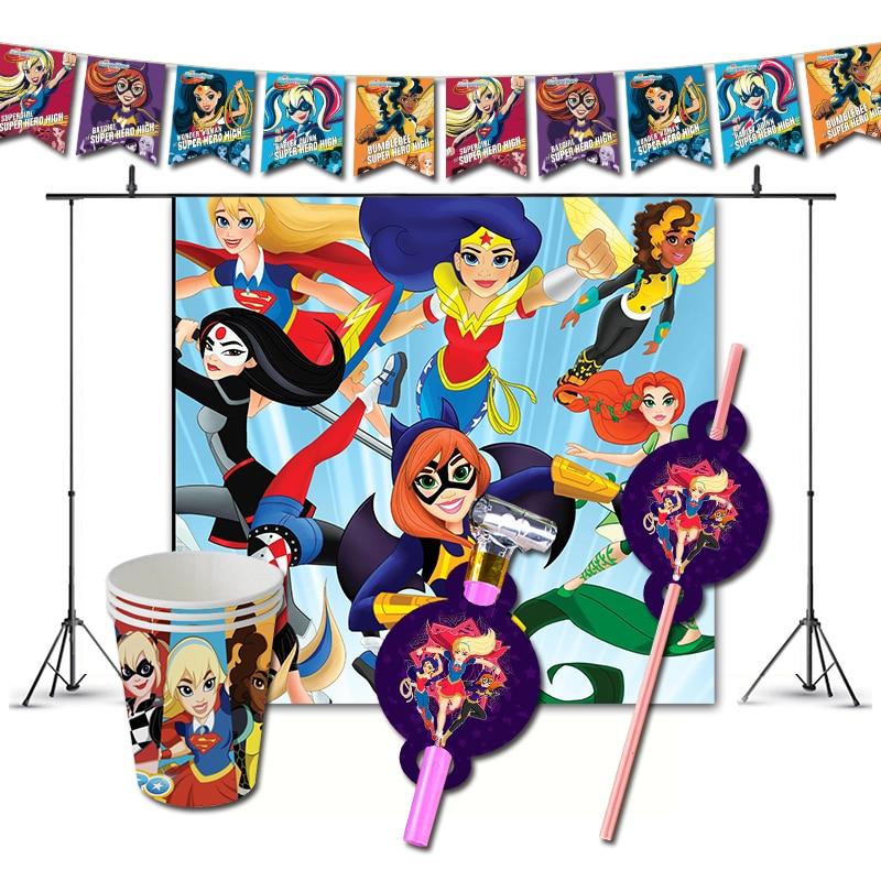 Украшения для вечеринки в честь Дня рождения Супер Девочки, тематические поставки DC Hero High Super hero, баннерные чашки для детей