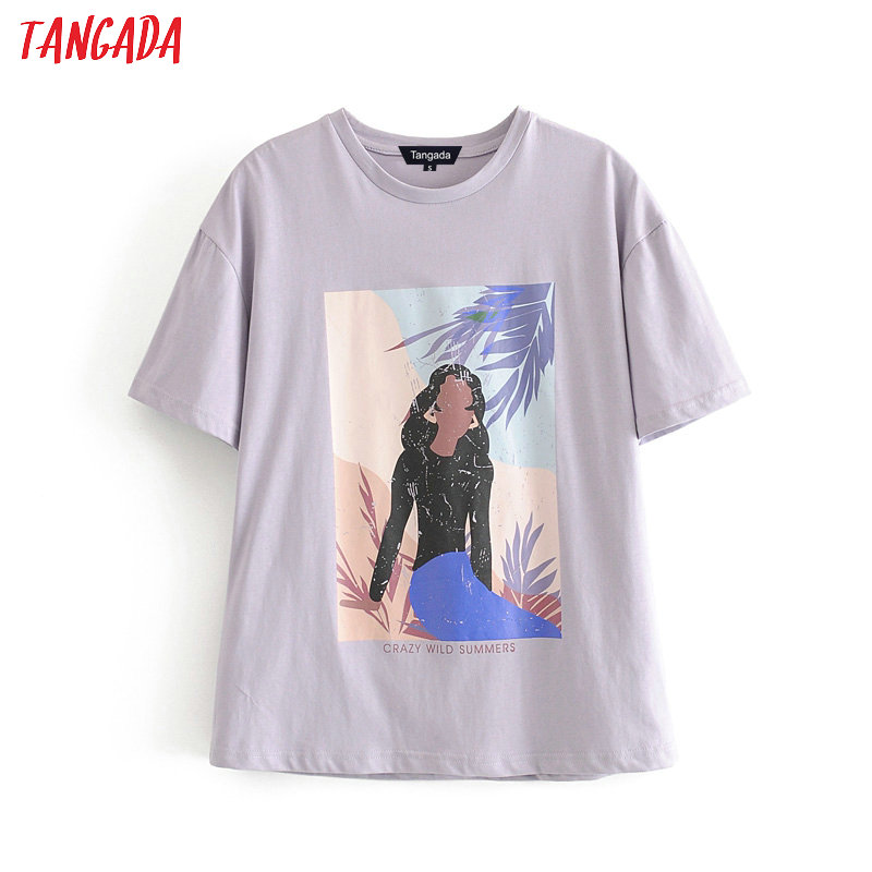 Tangada Women Vintage Print Purple Cotton T Shirt Short Sleeve Cotton Tees Shirt For Female Street Wear Top 6A176