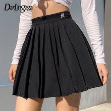Darlingaga Casual White Letter Embroidery High Waist Woman Skirts y2k Summer Fashion Pleated Skirt Short 2020 Girls Mini Skirt
