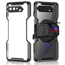 Zshow caso para rog telefone 5 armadura caso refrigerador de ar compatível gatilho compatível tpu quadro e acrílico claro volta gota proteção