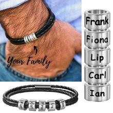 Custom Personalized Men Women Braided Genuine Leather Bracelet Stainless Steel Beads with Family Names Charm Bracelet for Men