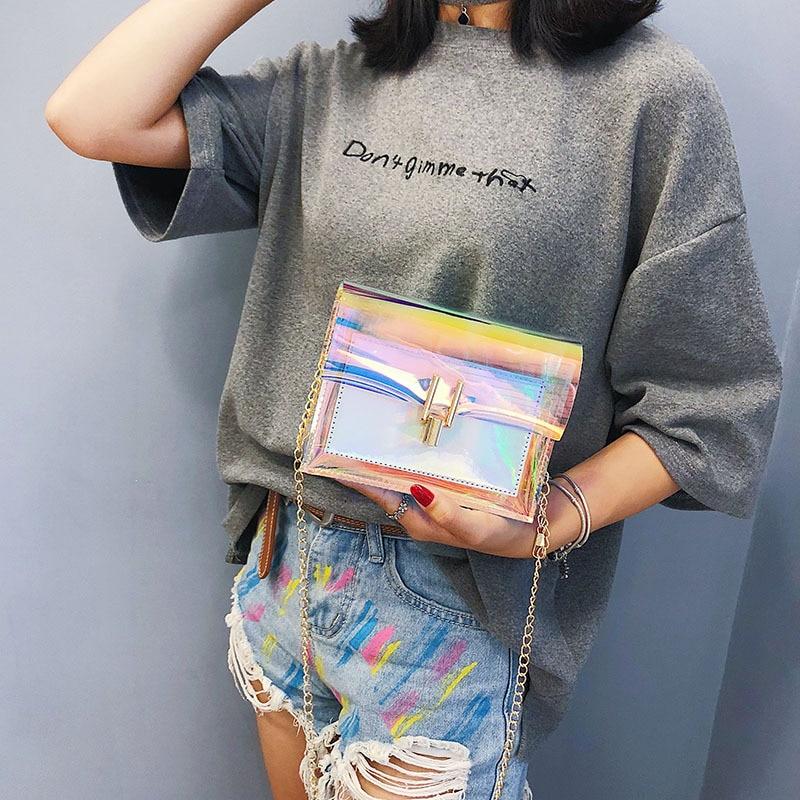 Crossbody Bags For Women 2020 Laser Transparent Bags Fashion Women Korean Style Shoulder Bag Messenger PVC Waterproof Beach Bag