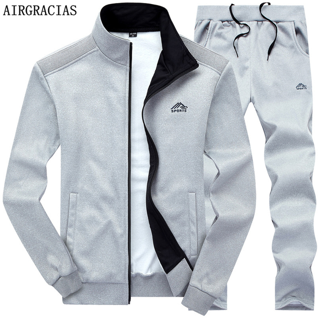 AIRGRACIAS Two Piece Set Men Sport Sweatshirt Fleece 2020 Spring New Jacket And Sweatpants Mens Tracksuit US/Euro Size  S-XXL 1