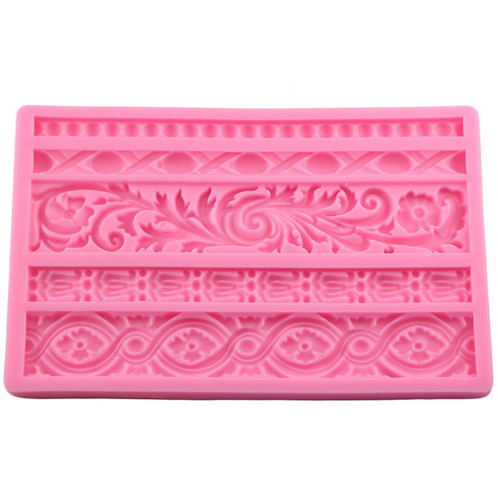 1pcs Baroque Reel Embossed Cake Border Silicone Mould Fondant Cake Decoration Candy Chocolate Mould