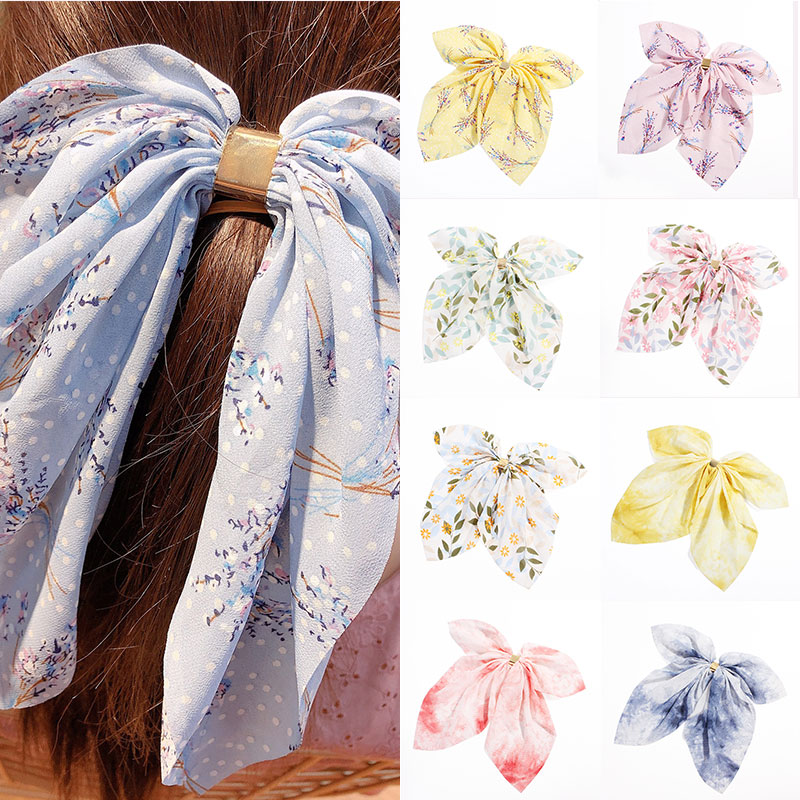 Big Bow Chiffon Printed Long Ribbon Scrunchie Hair Ties Metal Clasp Clips Hair Comb New Sweet Fresh Women Girls Hair Accessories