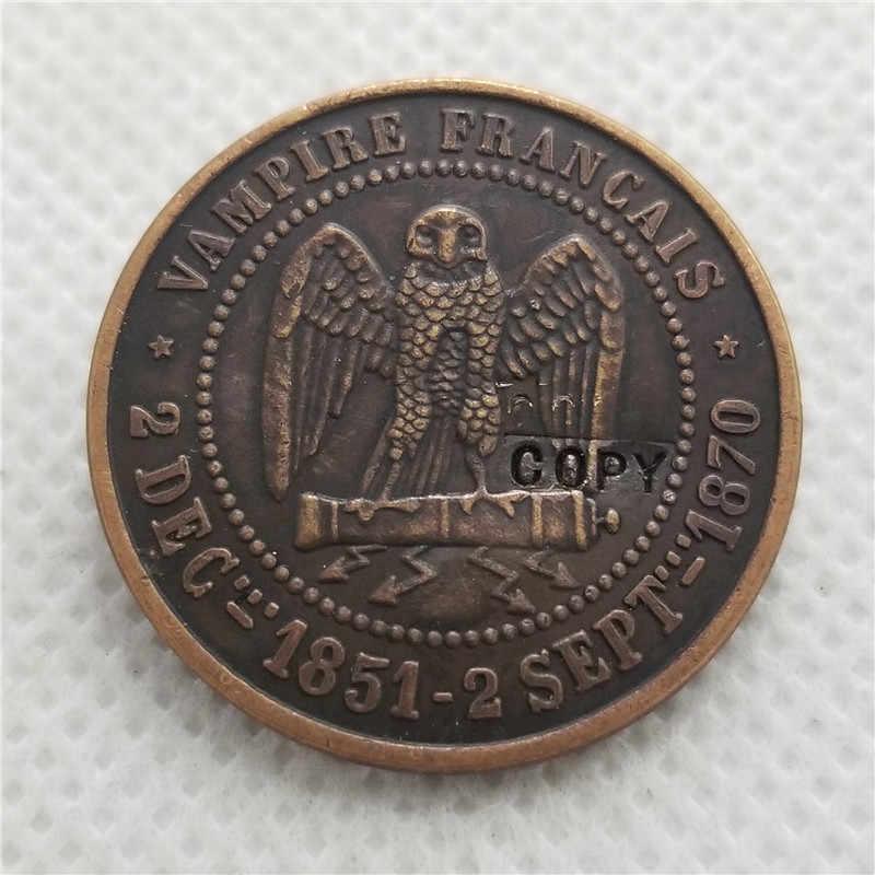 1851 Франция Наполеон III Chouette sur un canon, dessous des eclairs имитация монеты