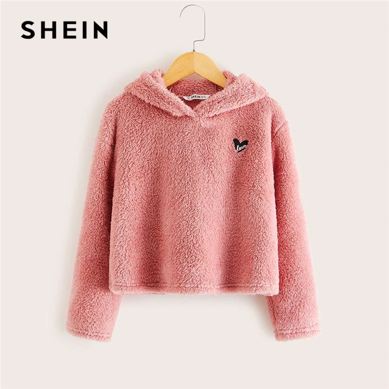 SHEIN Kiddie Pink Embroidered Front Casual Teddy Hoodie