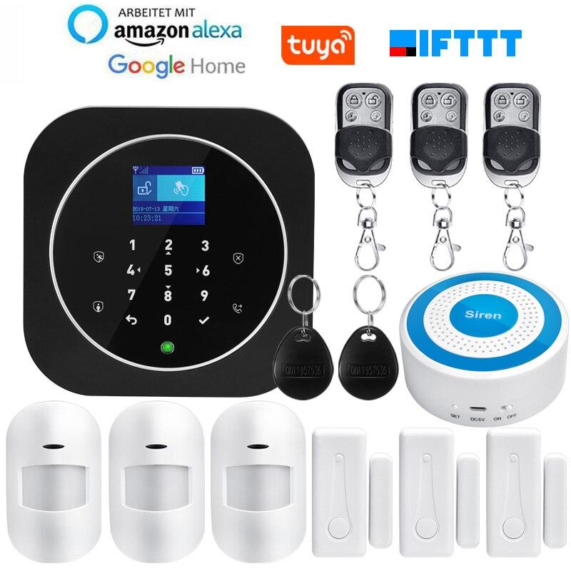 EN RU ES FR PL DE IT Switchable Wireless Home Security TUYA WIFI GSM GPRS Alarm System APP Remote Control RFID Card Arm Disarm