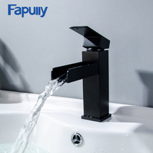 Fapully Waterfall Basin Bathroom Faucet Deck Mounted Sink Tap Black Single Handle Mixer Taps Single Holder Hot and Cold Water black basin faucets modern style bathroom faucet deck mounted waterfall single hole mixer taps both cold and hot water crane9273