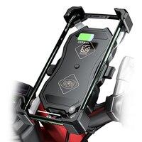 Suporte do telefone da motocicleta 15 w sem fio carregador inteligente qc3.0 fio charing 2 em 1 suporte semiautomático 360 graus rotação