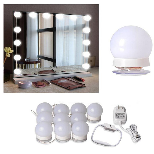 LED 12V Makeup Mirror Light Bulb Hollywood Vanity Lights Stepless Dimmable Wall Lamp 6 10 14Bulbs Kit for Dressing Table