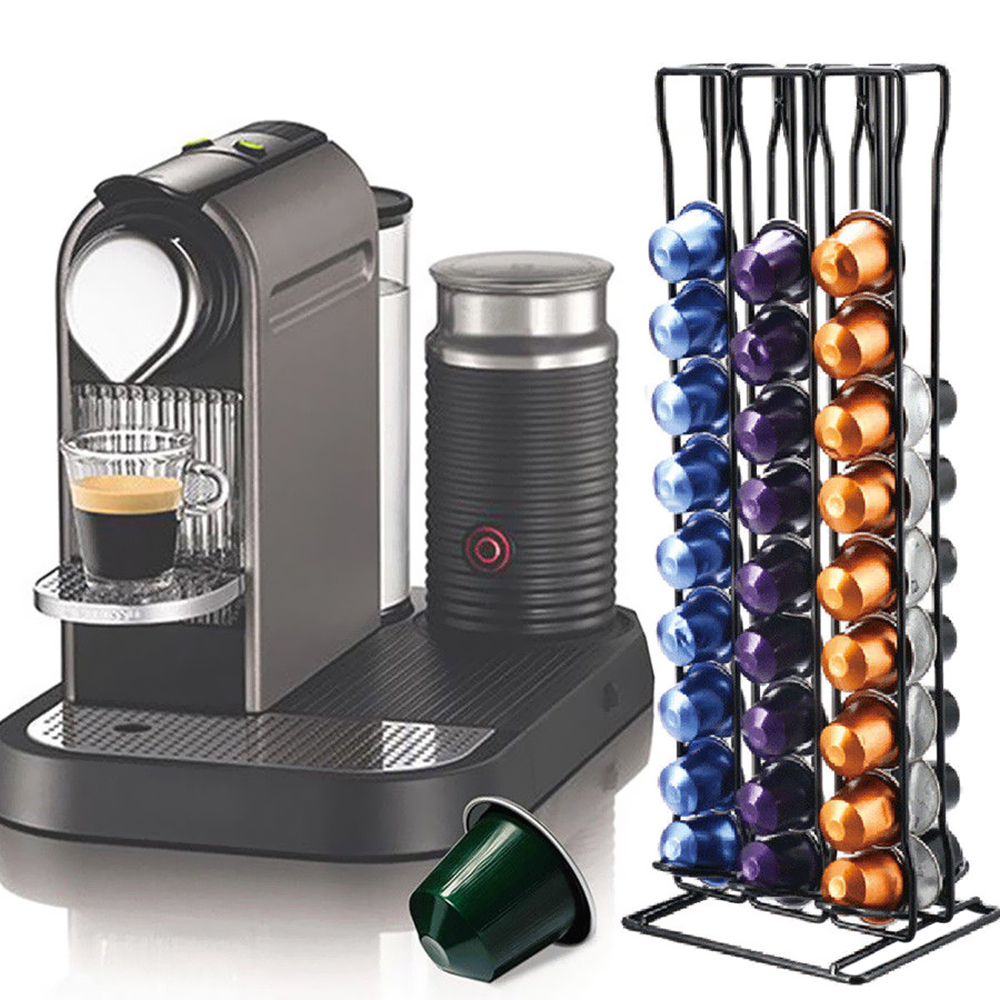 60 Capsules Coffee Pods Holder Tower Stand Dispenser Unrotatable Rack For Nespresso