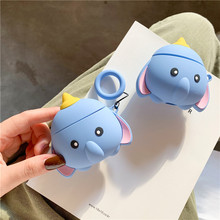 3D Stereoscopic Cartoon Dumbo Cute Elephant Protection Headphone Cases For Apple Airpods 1 2 Silicone Cover with Ring Lanyard