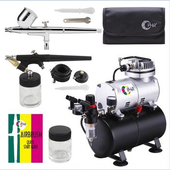 OPHIR Dual-Action Airbrush Kit with Air Tank Compressor for Hobby Cake Painting Tanning Airbrush Compressor Set _AC090+004A+071 eu plug dual action mini airbrush with compressor cake decoration 100 250v with airbrush cleaning set and mini air filter