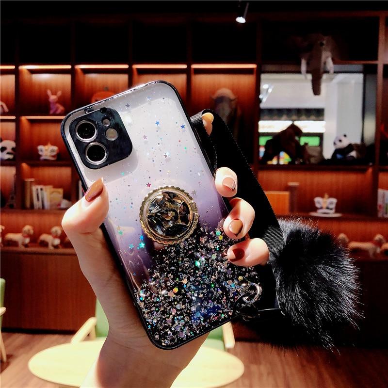 Coque avec anneau de doigt en diamant pour Xiaomi, compatible modèles Redmi Note 9S, 9, 8 Pro, 9C, 9A, Mi Note 10, 10 Lite, en fourrure, souple, antichoc