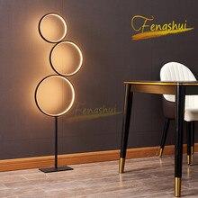 Postmodern LED Floor Lamp Nordic Creative Ring Floor Lights Lighting Touch Switch Stand Lamp Interior Lighting Decor Floor Lamp