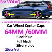 20 sztuk ABS/pcv 60MM 64MM Car Styling dla XC90 XC70 XC60 V40 V50 S40 S50 S60 S70 S90 piasta koła naszywka godło obejmuje