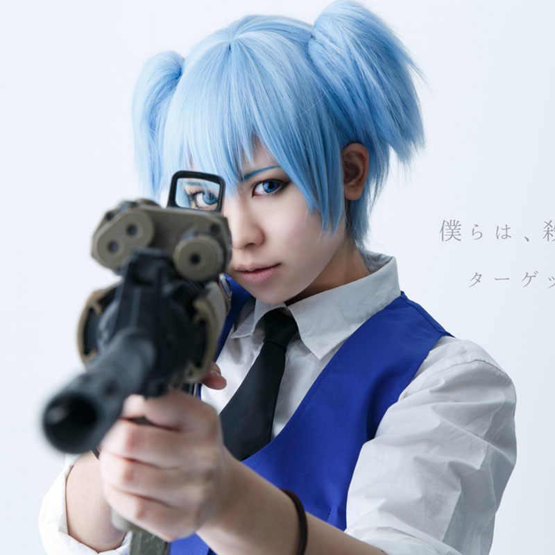 LVHAN Assassination Classroom cosplay pruik Kort haar Rood Blauw Dubbele paardenstaart Synthetische pruik