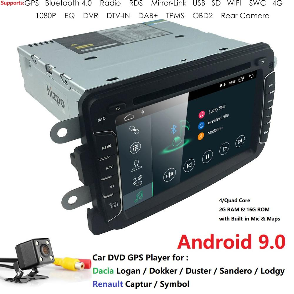 Quad Core Android 9.0 2G+16G 7 INCH 1 DIN Car GPS For RENAULT DUSTER LOGAN LADA XRAY SYMBOL DACIA Kaptur DOKKER SWC DAB DVR WIFI