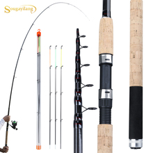 Sougayilang mangeoire canne à pêche télescopique filature/6 Sections canne de voyage 3.0 3.3 3.6m Pesca carpe mangeoire 60 180g pôle poisson attirail