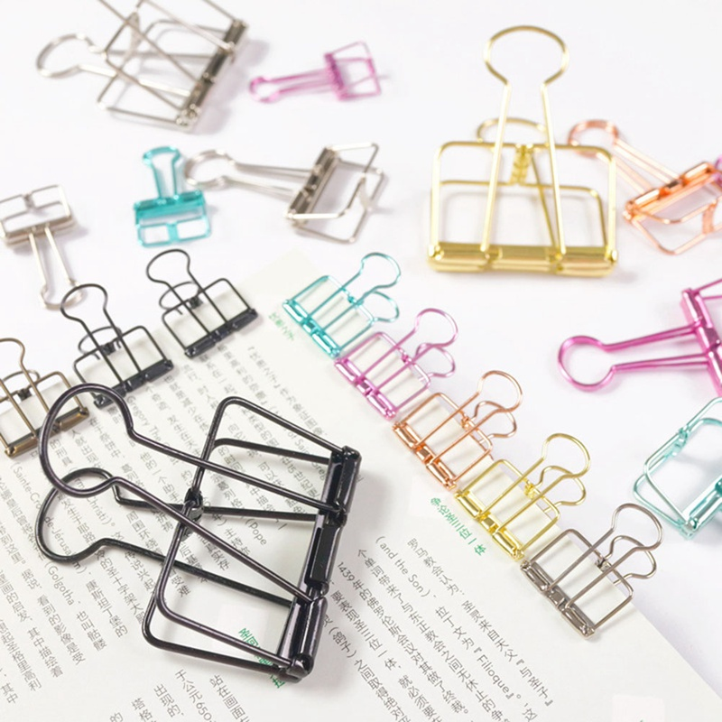 Ins Colors Gold Sliver Rose Green Purple Binder Clips Large Medium Small Office Study Binder Clips