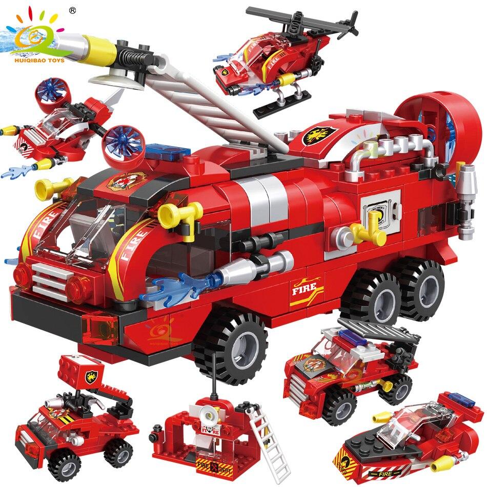 HUIQIBAO 387 шт., 6 в 1, пожарные машины, вертолет, лодка, строительные блоки, городской пожарный, фигурки, кирпичи, игрушки для детей