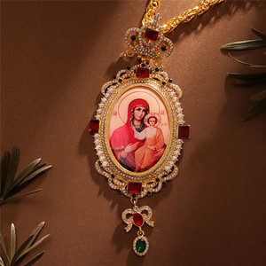 Image 2 - Orthodox Elliptic Pectoral Crown Cross Jewelry Religious Icon Byzantine Crucifix Necklace Virgin Mary Bishop Priest Episcopal