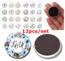 12pcs Bible Scripture Fridge Magnet Glass Dome Sticker Religious Art Letters Home Decoration