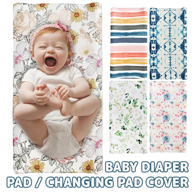 Baby Unisex Diaper Change Table Sheet Changing Pad Cover Floral Print Fitted Crib Sheet Infant or Toddler Bed Nursery 1