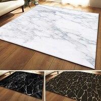 O mármore branco preto imprimiu o tapete grande para o sofá antiderrapante da sala de visitas tatami tapete de mesa|Tapete| |  -