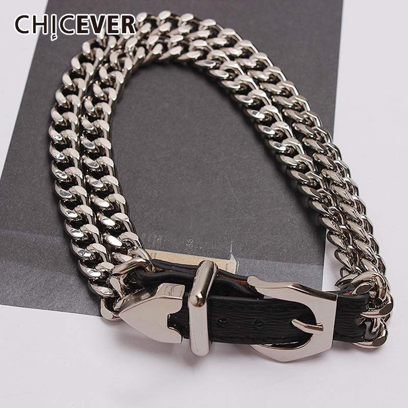 CHICEVER PU Leather Women's Bracelet Patchwork Metal Chain Adjustable Accessories Bracelets For Female Korean 2020 Summer New