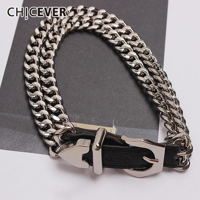 CHICEVER PU Leather Women's Bracelet Patchwork Metal Chain Adjustable Accessories Bracelets For Female Korean 2020 Summer New