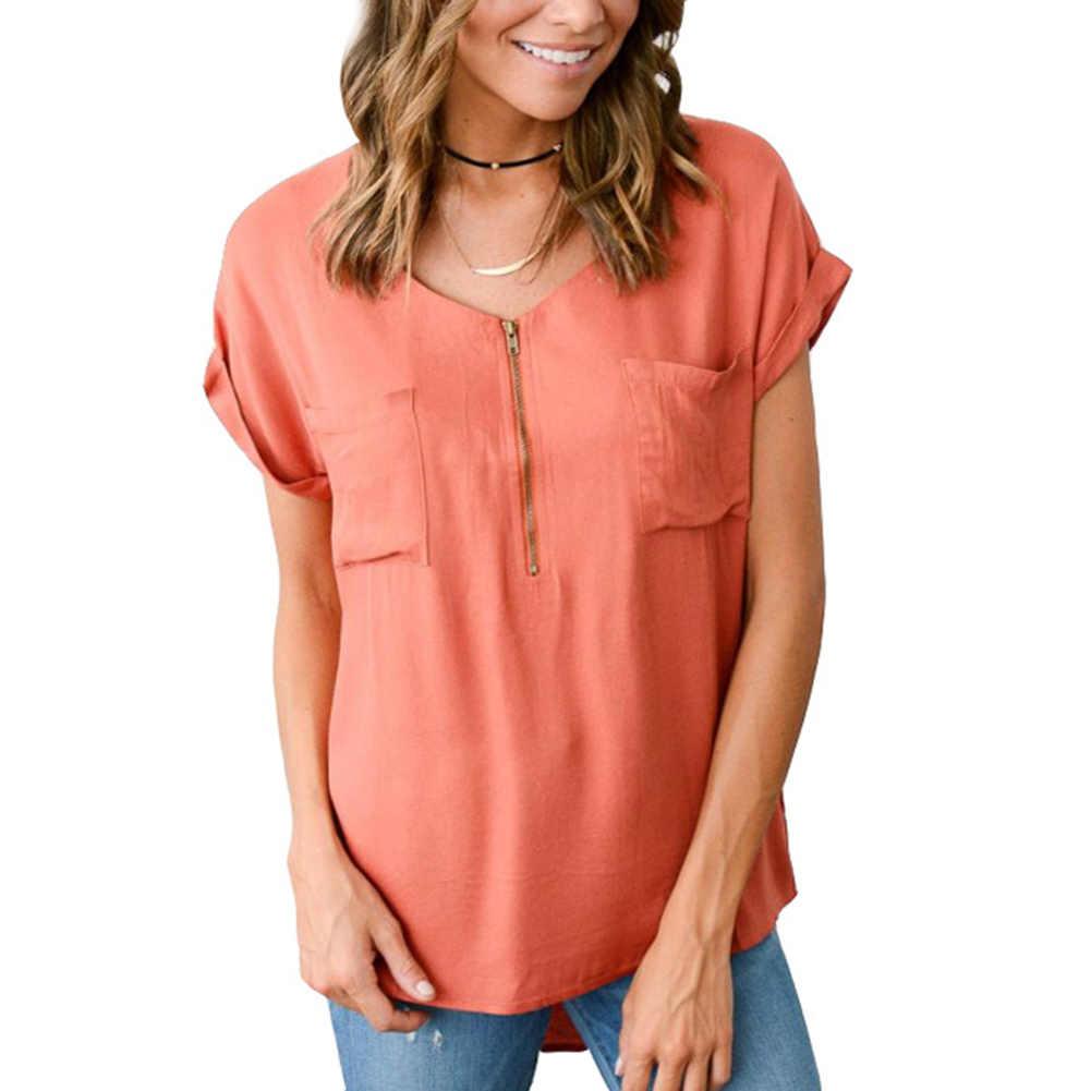 Kobiety bluzka z krótkim rękawem Zipper lato kieszenie koszule damskie z dekoltem w serek luźne jednolity kolor Sexy topy na co dzień czarny zieleń wojskowa bluzka