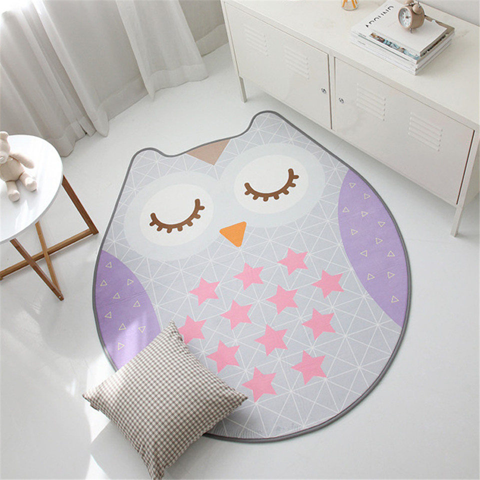 Cartoon Owl Irregular Shape Kids Rug Carpet Animal Oval Carpets Child Play Rug Bedroom Thicken Anti-slip Washable Mat Carpet