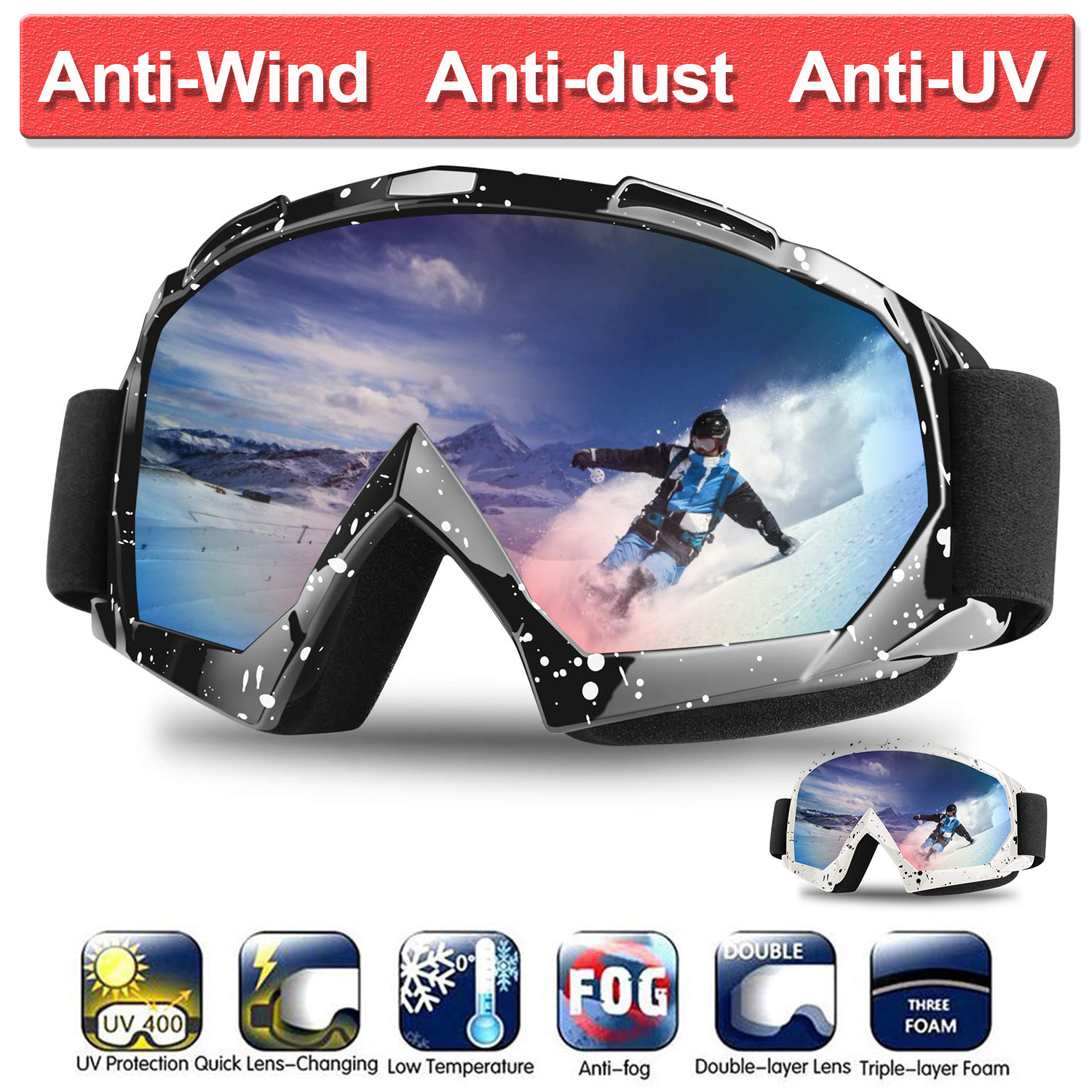Ski Goggles Double Layers UV Anti-fog Big Ski Mask Glasses Skiing Snow Snowboard Goggles Men Women Ski Eyewear D35