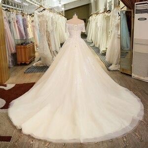 Image 2 - Женское свадебное платье с коротким рукавом, фатиновое кружевное винтажное платье в стиле бохо с вырезом лодочкой, свадебное платье