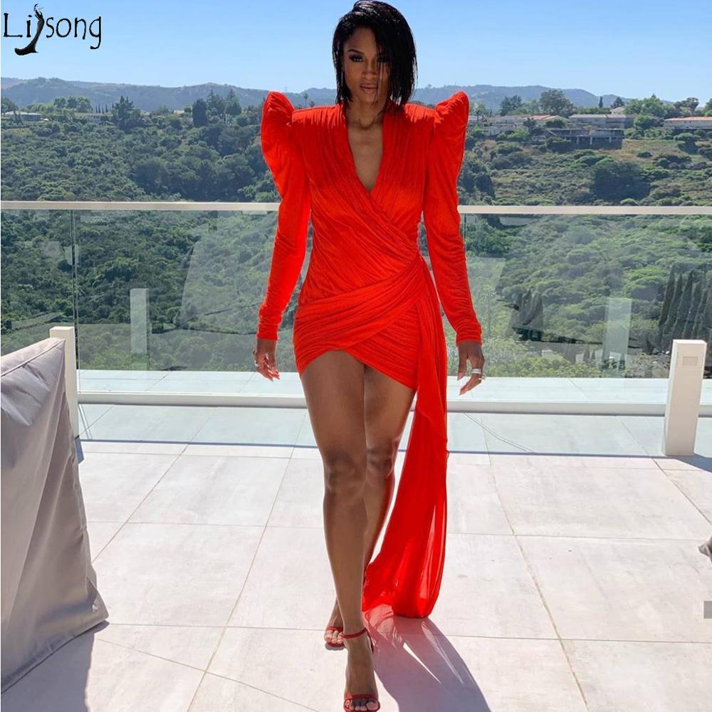 Sexy gaine Mini robes de bal à manches longues col en V extensible courte robe de Cocktail rouge au-dessus du genou Chic robes de soirée sur mesure