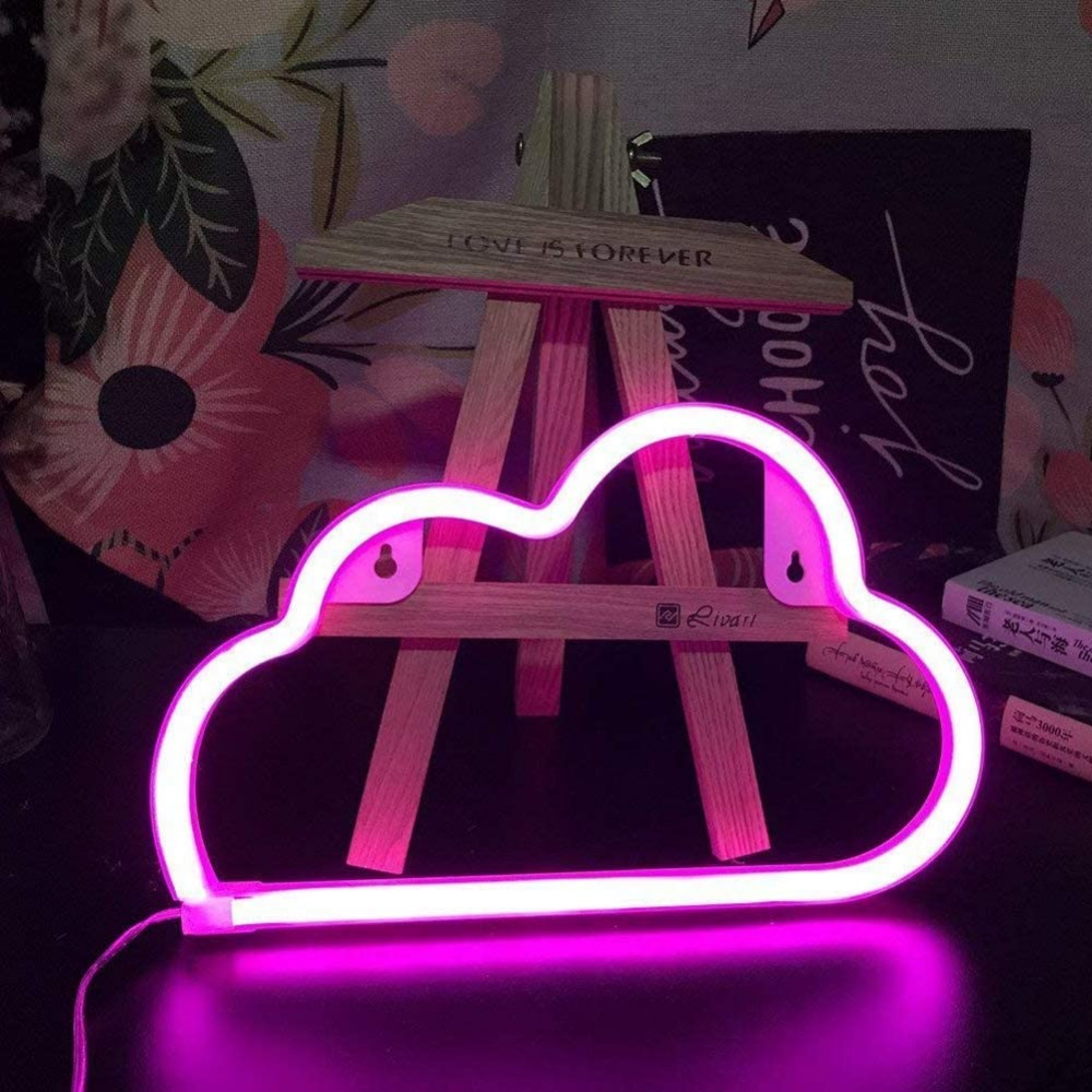 ZGHYBD LED Cloud Neon Light Sign Night Lamp Wall Art Decorative Room Party Decor with Base for Kids Boy and Girl Bedroom Unique Gift for Any Occasion Pink Cloud Color