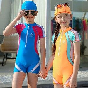 Image 2 - Bañador deportivo para niños de 3 a 15T, traje de baño de una pieza con gorro de baño, traje de baño de competición para niños y niñas