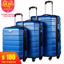 3 Piece Set Family suit Rolling Luggage with Lock Spinner Lightweight High Strength Carry On Suitcase business Travel Luggage(China)