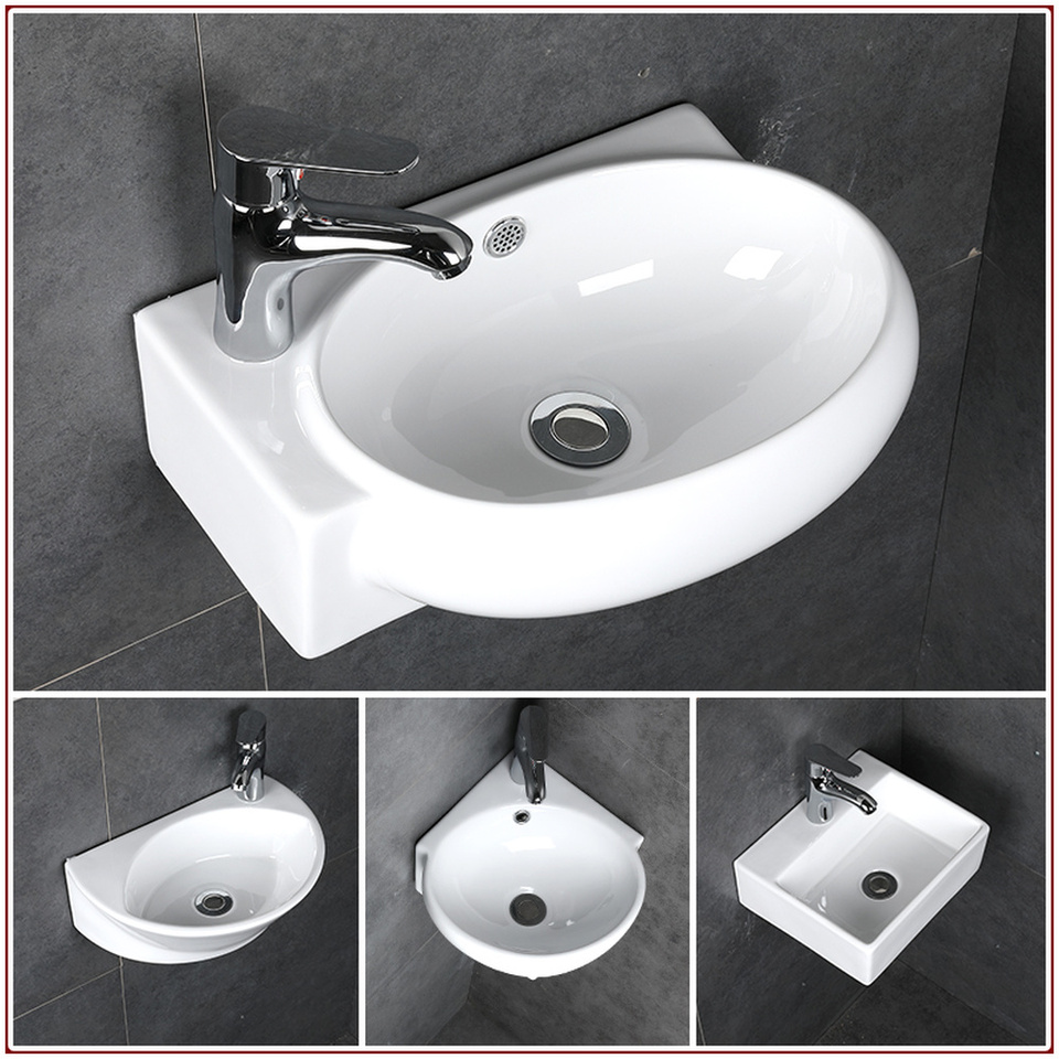 Bathroom Small Wash Basin Sink Ceramic White Mini Wall Mounted Wash Hand Basins Toilets Corner Hanging Basin Sink Mx9091552 Aliexpress