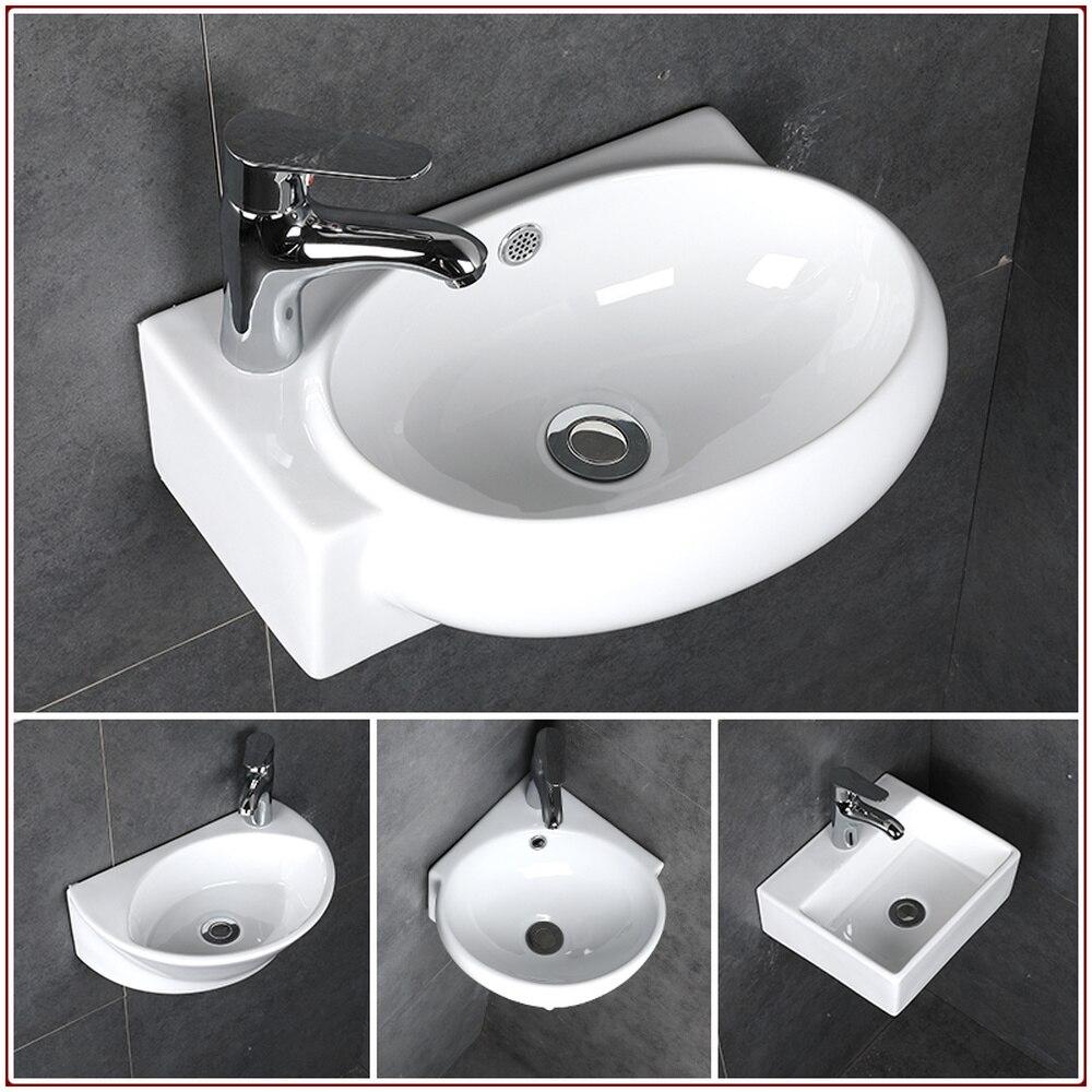 Salle de bain petit lavabo évier en céramique blanc Mini lavabo mural lavabo toilettes coin suspendu lavabo mx9091552