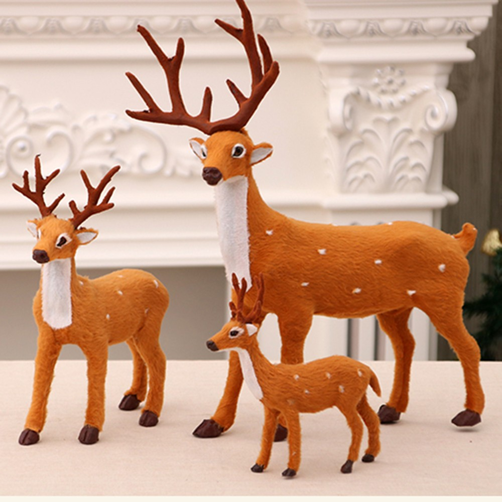 15/25/35cm Christmas Deer Plush Reindeer Furry Deer Christmas Decoration For Home Ornament Happy New Year Christmas Party Supply