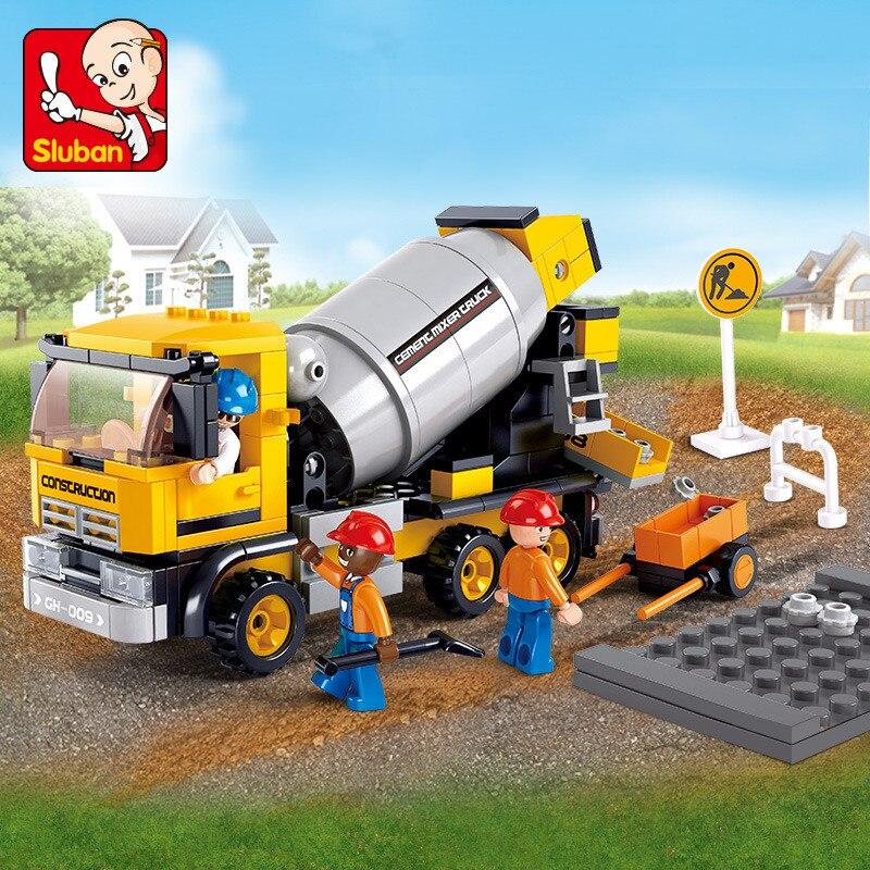296Pcs City Engineering Cement Mixer Car Truck DIY Bricks LegoINGLs Playmobil Building Blocks Sets Juguetes Toys For Children
