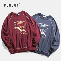 Hip Hop Retro Men Long Sleeve T Shirts Harajuku Streetwear Cotton Pterosaur Graphic Print Oversize Pullover Sweatshirts T Shirts