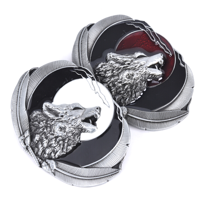1pc Wolf Watching Moon Belt Buckle For Mens Zinc Alloy Wolfhead Belts Accessories Suitable For 4cm Width Belt DIY Manly Decor