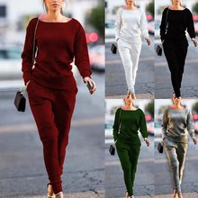 PUIMENTIU Spring Autumn Winter Lossky  Slim Women Knitted Suit Casual Track Suits O-neck Long Sleeve Solid Ladies Sports